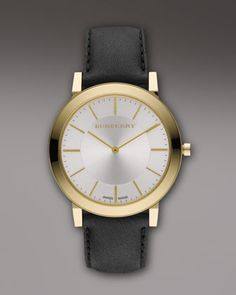 Classic Watch, Golden by Burberry at Neiman Marcus.