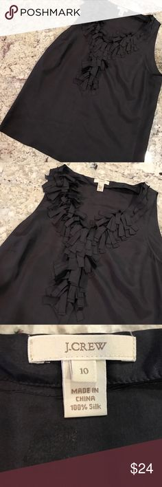 J Crew black sleeveless Silk ruffle tank Stunning J.Crew black sleeveless blouse. Fringe ruffles at bust. V neck. Excellent used condition, no flaws. Size 10. J. Crew Tops Blouses