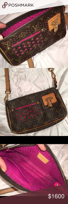 LOUIS VUITTON LIMITED EDITION PINK PURSE!!! LOUIS VUITTON LIMITED EDITION PINK PURSE!!! Shows some wear, but in very great condition!!! Has long cross body strap. Louis Vuitton Bags Crossbody Bags