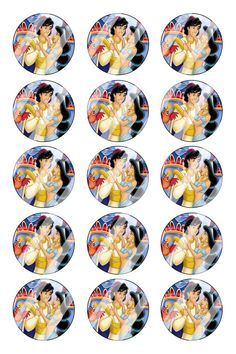 "Aladdin Jasmine Bottle Cap 1"" Circle Images #AJ39 (instant download or pre cut)"