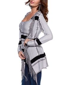 Look at this Belldini Gray & Black Fringe Open Cardigan & Tank on #zulily today!