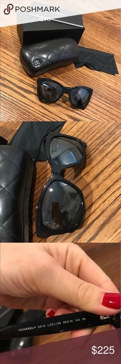 Chanel Black Boy Mirrored Cat Eye Sunglasses Super cute Chanel sunglasses purchased at Neiman Marcus in 2016! Come with everything pictured! CHANEL Accessories Sunglasses
