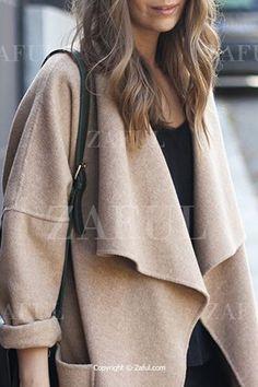 Light Camel Turn Down Collar Coat LIGHT CAMEL: Jackets & Coats | ZAFUL