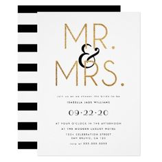 Black White and Gold Mr & Mrs Bridal Shower Card - black and white gifts unique special b&w style