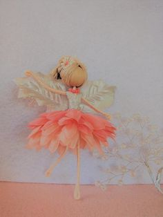 Flower fairy doll, Christmas fairy tree ornament, handmade fairy doll, fairy doll, ballerina fairy doll, ballerina ornament, Christmas fairy doll, coral fairy doll is a coral or rose gold fairy doll for decorations and presents for all occasions like Christmas, birthday,