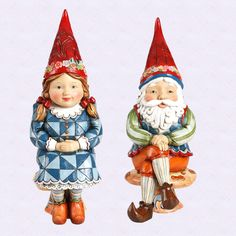 """Jim Shore 12"""" Gnome Couple """"Freya and Frode"""" New 