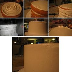 how to ice and smooth out a cake with italian merange butter cream. ice the top of the cake first leaving a 1/8 inch space all around using a #12 round tip to get the icing on the cake. Then ice the sides so that the icing comes up above the top of the cake.. and then, using a small spatula, take off that lip and when you do that the space you left on the top gets filled in.