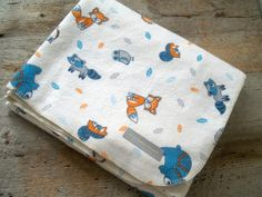 Extra Large Folk Art Woodland Animals Flannel by yeSweetheart