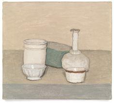 Giorgio Morandi, Natura morta (Still Life), oil on canvas. Still Life Drawing, Still Life Art, Italian Painters, Italian Artist, John Berger, Simple Subject, Famous Artists, Artist Art, Illustrations