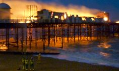 A big shame. Our pier going down in flames. They hope to start rebuilding it this summer (2013)