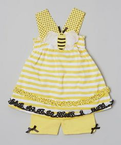 Look what I found on #zulily! Yellow Stripe Bee Tunic & Shorts - Infant & Toddler by Young Hearts #zulilyfinds