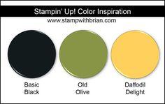 Stampin' Up! Color Inspiration: Daffodil Delight, Old Olive, Basic Black