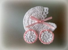 NO PATTERN. 1pc Crochet Miniature Baby Carriage, Stroller, Crib Applique decorated with satin cord. Handmade crochet work with love & care. Made from 100% cotton yarn. This measure about 7,5 cm long and 7 cm wide. The crochet appliques would look super cute as a paptism favor (photo), on a baby shower invitation or as a decoration of a baby shower. Made to order in any color variation you want!!!! I ship worlwide with register mail (with tracking number). Thankyou for looking <3...
