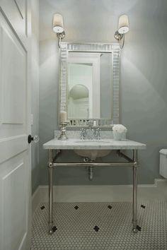 Maison Market - bathrooms - washstand, marble topped washstand, washstand with marble countertops, mirror tiled mirror, mirror framed mirror...