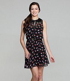 B Darlin Belted BirdPrint Dress #Dillards