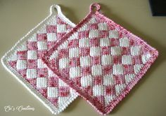 Entrelac Rose´- Weiß Küchentraum in Rose´und Pink Crochet Potholder Patterns, Crochet Squares Afghan, Vintage Crochet Patterns, Knitting Patterns, Crochet Hot Pads, Crochet Towel, Love Crochet, Crochet Dishcloths, Tunisian Crochet