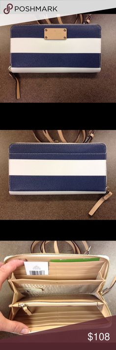 NWT Kate Spade Striped Neda NWT Kate Spade Striped Neda - Navy and White stripes with tan leather accents.  Full size zip around wallet.  12 card slots / 2 bill compartments / central zippered coin compartment.  Kate Spade license plate on front and signature lined interior.  Brand new!!  ‼️ matching bag in separate listing ‼️ kate spade Bags Wallets