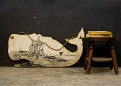 Extra Large Whale Decor with Seafaring Print Hangs by EdiesLab, $100.00