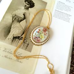 Vintage West Germany 1950s  Long Gold Chain Floral Pattern Pendant Necklace, Framed w/ Intricately Designed…