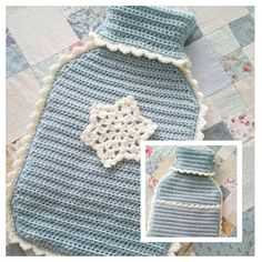 Pretty hot water bottle cover @ grandmaandme from free pattern by Jane @ just_pootling here:  http://blog.lovecrochet.com/crochet-with-kate-matching-hot-water-bottles/