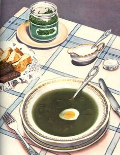 soviet food posters - green borscht (made with sorrel)