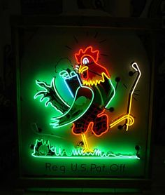 Rooster playing golf 1930's neon