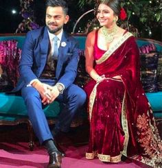 """The saree was made of velvet and in what the designer called, """"Gulkand Burgundy""""."""