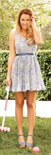 lauren conrad - LC blue pleated floral dress.