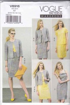 Vogue Sewing Pattern 8916 Misses Sizes 14-22 Wardrobe Jacket Top Dress Skirt  $24.99