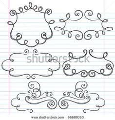 stock vector : Hand-Drawn Sketchy Notebook Doodles Ornamental Borders with Swirls- Vector Illustration Design Elements on Lined Sketchbook Paper Background