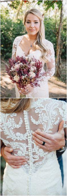 Chic wedding dress, lace long sleeves, buttons, stylish bridal fashion // Rachel Nichole Photography