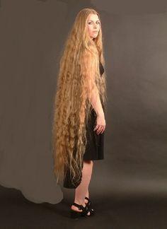 Don't know her origin, but suspect she is Russian. Long Curly Hair, Big Hair, Hair 24, Beautiful Long Hair, Gorgeous Hair, Long Blond, Rapunzel Hair, Super Long Hair, Silky Hair