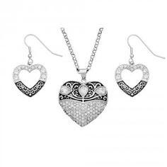 Vintage Charm Something Old Something New Heart Jewelry Set (JS1325CZ)