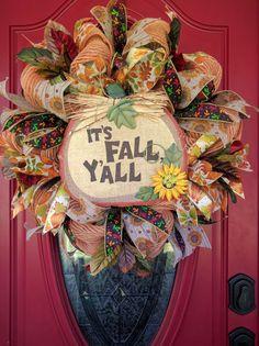 Fall Burlap Wreath. Pumpkin Wreath. It's Fall Y'all Burlap wreath