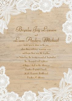 Romance collides with rustic style on this lace and woodgrain wedding invite.The perfect choice for a country-themed wedding.
