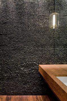 Pebbles Wall // TriBeCa Loft Residence / A I Design ideas interior design design bedrooms Spa Design, Wall Design, House Design, Design Ideas, Wall Texture Design, Design Room, Bad Inspiration, Bathroom Inspiration, Interior Inspiration