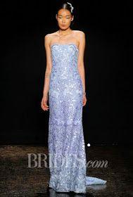 Non Traditional, Blue Wedding Dress Sheath Lazaro Blue Sheath Wedding Dress