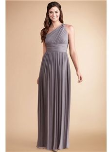 fa74174e68b Donna Morgan - Rachel - Subtle ruching highlights this flowy one shoulder  grey ridge chiffon dress with a flattering set in waist and floor length  skirt.