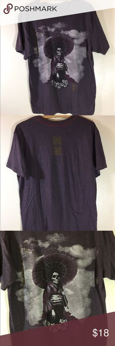 RVCA Graphic TShirt RVCA tee. Size Medium. Purple (washed dark purple) with red stitch hem lines. Graphic on front, logo upper center back. No stains or rips, etc. Super soft. Cool shirt. Men Medium. Women APPROX: Extra Large. RVCA Tops Tees - Short Sleeve