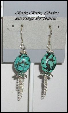 Turquoise Bead Earrings with Chain Dangles by ChainChainChains