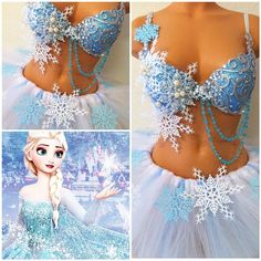 """Elsa Outfit for Christina! Rave Halloween Costumes, Halloween 2020, Halloween Outfits, Diy Costumes, Festival Outfits, Festival Fashion, Carnaval Kids, Elsa Outfit, Diy Bra"