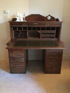 Antique Victorian Mahogany Cylinder Top Kneehole Desk