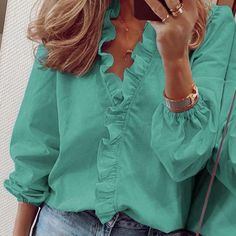 White Long Sleeve, Long Sleeve Tops, Long Sleeve Shirts, Short Sleeves, Casual Tops For Women, Blouses For Women, Pants For Women, Neue Outfits, Business Outfit