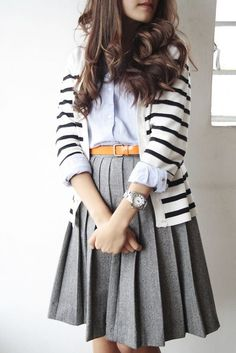 Pleated skirt, button down, striped sweater