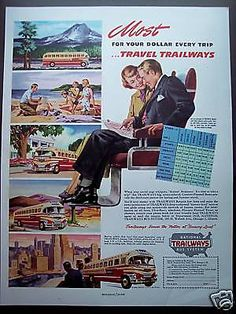 1949 vintage AD Trailways Bus Rate Chart vacation Travel in Collectibles, Transportation, Buses & Taxi Cabs   eBay