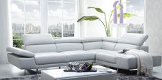 J and M Furniture 1717 Collection 118 Inch Italian Leather Right Facing Sectional Sofa With Adjustable Headrests and Armrest Comes in White. Sectional Sofa, Couch, Buy Sofa, Power Recliners, Upholstered Furniture, Living Room Sets, Slipcovers, Seat Cushions, Upholstery