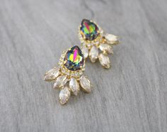 Crystal Bridal earrings Peacock crystal by CoutureBridalStudios