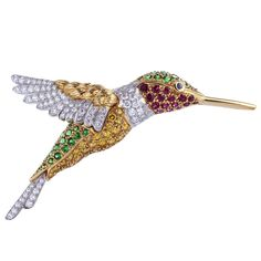 Brilliant & Charming OSCAR HEYMAN BROTHERS Hummingbird Pin
