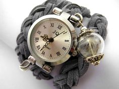 Wrist Watches – Real Dandelion Suede Wrap Watch Silvergrey – a unique product by VillaSorgenfrei on DaWanda