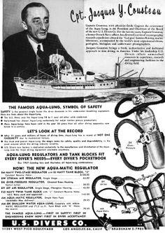 """Scuba diving: Captain Jacques Cousteau developed and marketed the """"Aqua Lung"""" in 1958 Scuba Diving Gear, Cave Diving, Sea Diving, Scuba Shop, Paris France, Jacques Yves Cousteau, Kids Book Club, Diving Helmet, Undersea World"""